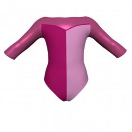 Body danza bicolore maniche 3/4 con inserto in lurex PLF105