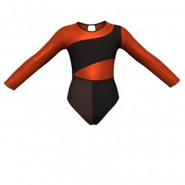 Body danza bicolore maniche lunghe con inserto in lurex PLF108