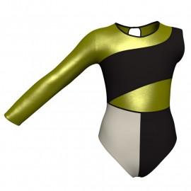 Body danza bicolore Monospalla con inserto in lurex PLF108SS
