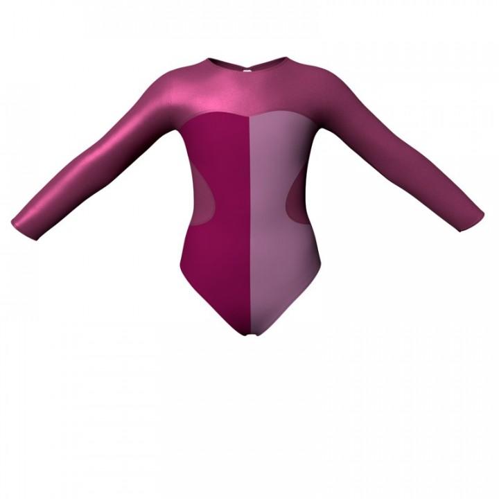 Body danza bicolore maniche lunghe con inserto in lurex PLF110