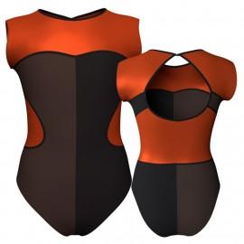 Body danza bicolore senza maniche con inserto in lurex PLF110SS
