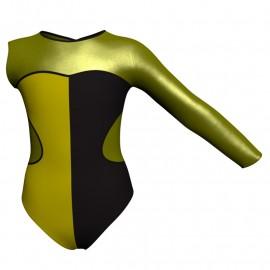 Body danza bicolore Monospalla con inserto in lurex PLF110SST