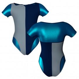 Body danza bicolore manica corta con inserto in lurex PLF111
