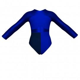 Body danza bicolore maniche lunghe con inserto in lurex PLF113