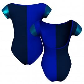 Body danza bicolore maniche aletta con inserto in lurex PLF3005T