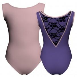 Body danza bicolore senza maniche con inserto belen pro PLH1003