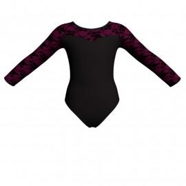 Body danza bicolore maniche lunghe con inserto belen pro PLH1019