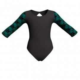 Body danza bicolore maniche lunghe con inserto belen pro PLH102