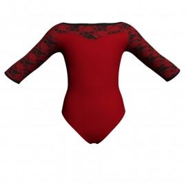 Body danza bicolore maniche 3/4 con inserto belen pro PLH105