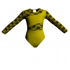 Body danza bicolore maniche lunghe con inserto belen pro PLH108