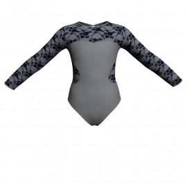 Body danza bicolore maniche lunghe con inserto belen pro PLH110