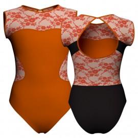 Body danza bicolore senza maniche con inserto belen pro PLH110SS