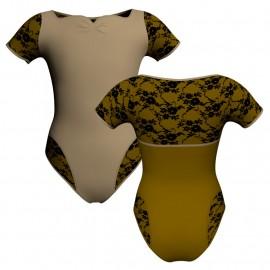 Body danza bicolore manica corta con inserto belen pro PLH111