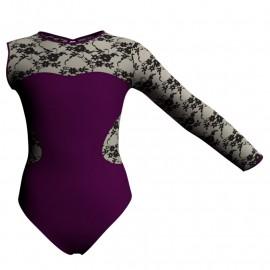 Body danza bicolore Monospalla con inserto belen pro PLH110SST