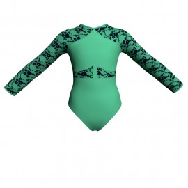Body danza bicolore maniche lunghe con inserto belen pro PLH113