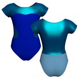 Body danza bicolore maniche aletta con inserto in lurex PLI1001