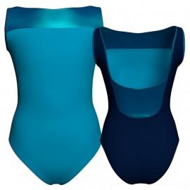 Body danza bicolore senza maniche con inserto in lurex PLI1002