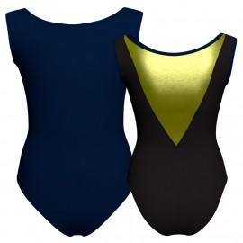 Body danza bicolore senza maniche con inserto in lurex PLI1003