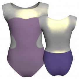 Body danza bicolore senza maniche con inserto in lurex PLI1001SS