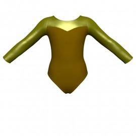 Body danza bicolore maniche lunghe con inserto in lurex PLI1019