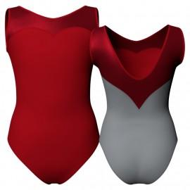 Body danza bicolore senza maniche con inserto in lurex PLI103