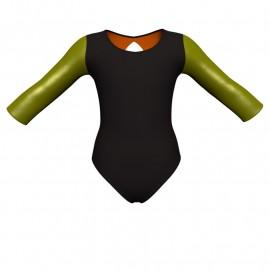 Body danza bicolore maniche lunghe con inserto in lurex PLI102