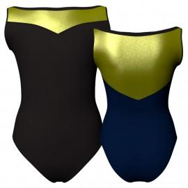 Body danza bicolore senza maniche con inserto in lurex PLI105SS