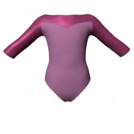 Body danza bicolore maniche 3/4 con inserto in lurex PLI105