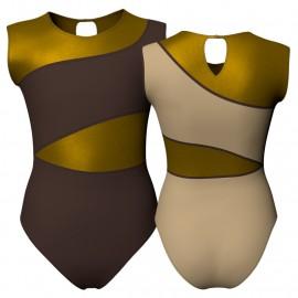 Body danza bicolore senza maniche con inserto in lurex PLI108SST