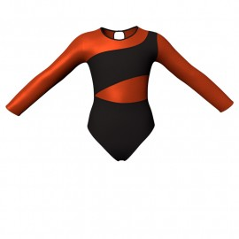 Body danza bicolore maniche lunghe con inserto in lurex PLI108