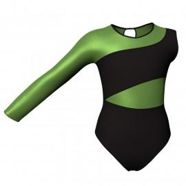 Body danza bicolore Monospalla con inserto in lurex PLI108SS