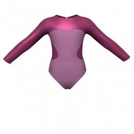 Body danza bicolore maniche lunghe con inserto in lurex PLI110