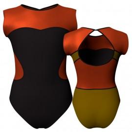 Body danza bicolore senza maniche con inserto in lurex PLI110SS