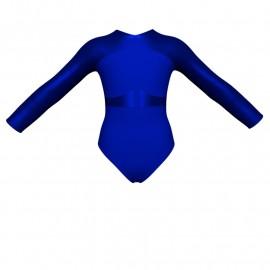 Body danza bicolore maniche lunghe con inserto in lurex PLI113