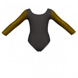 Body danza bicolore maniche lunghe con inserto in lurex PLI405T