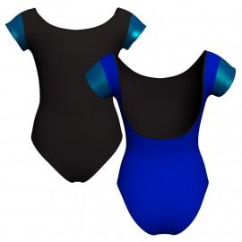 Body danza bicolore maniche aletta con inserto in lurex PLI414T