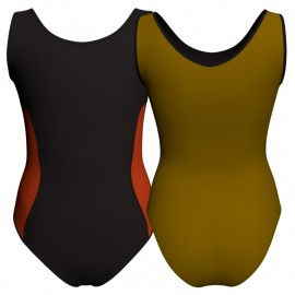 Body danza bicolore senza maniche con inserto in lurex PLI415