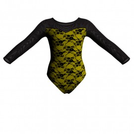 Body danza in belen pro maniche lunghe con inserto in rete o pizzo PBA1019