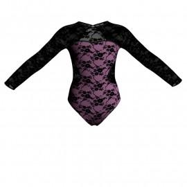 Body danza in belen pro maniche lunghe con inserto in rete o pizzo PBA110