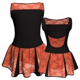 Vestito danza con gonnellino in pizzo senza maniche e inserto SK302LPP1002