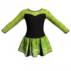 Vestito danza con gonnellino in pizzo maniche lunghe e inserto SK302LPP1019