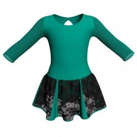 Vestito danza con gonnellino in pizzo maniche lunghe e inserto SK302LPP102