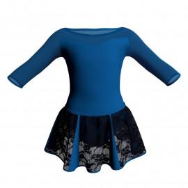 Vestito danza con gonnellino in pizzo maniche 3/4 e inserto SK302LPP105