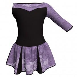 Vestito danza con gonnellino in pizzo Monospalla e inserto SK302LPP105SST