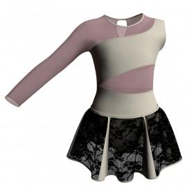 Vestito danza con gonnellino in pizzo Monospalla e inserto SK302LPP108SS