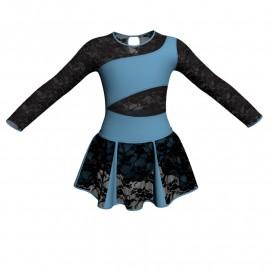 Vestito danza con gonnellino in pizzo maniche lunghe e inserto SK302LPP108