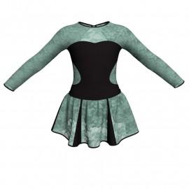 Vestito danza con gonnellino in pizzo maniche lunghe e inserto SK302LPP110