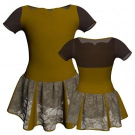 Vestito danza con gonnellino in pizzo manica corta e inserto SK302LPP111