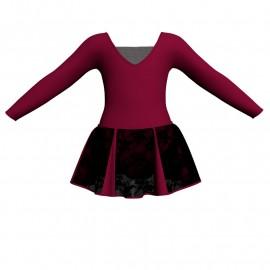 Vestito danza con gonnellino in pizzo maniche lunghe e inserto SK302LPP2532