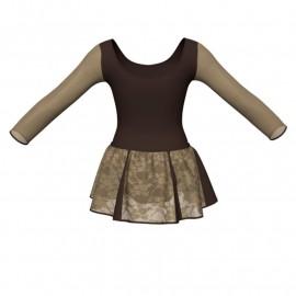 Vestito danza con gonnellino in pizzo maniche lunghe e inserto SK302LPP405T